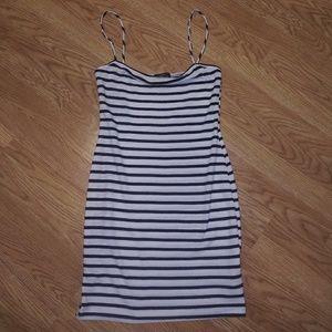 Ribbed striped mini dress